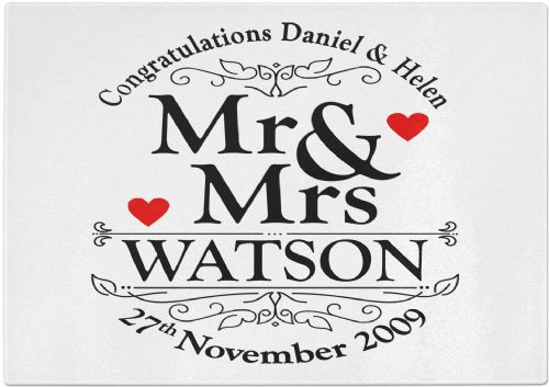 Personalised Congratulations Mr & Mrs. Commemorative Wedding Tempered Glass Chopping Board